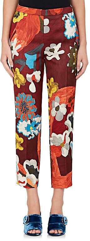 Prada Women's Floral Wool-Silk Crop Trousers