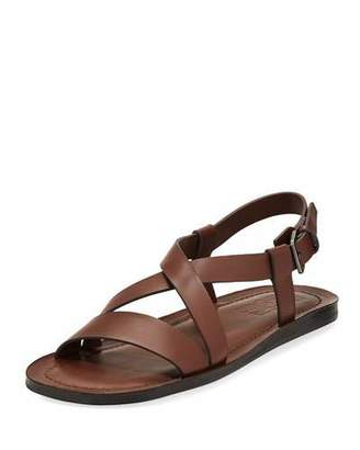 Salvatore Ferragamo Nostro 2 Habana Leather Strap Sandal, Brown $495 thestylecure.com