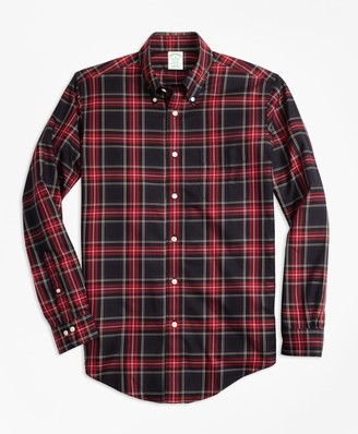 Brooks Brothers Non-Iron Milano Fit Black Stewart Tartan Sport Shirt