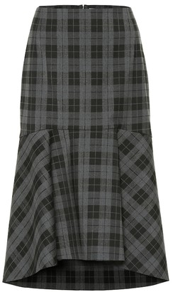 Balenciaga Checked wool-blend midi skirt
