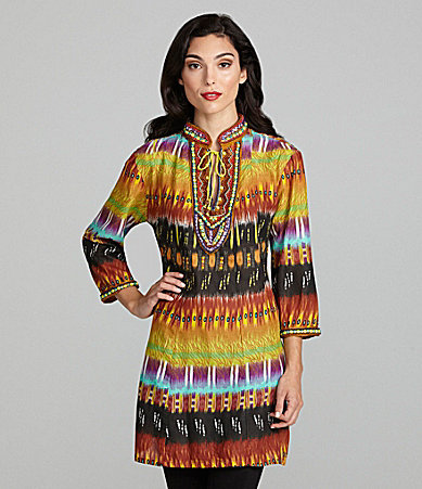 Keylime & Pink Beaded Abstract Print Tunic