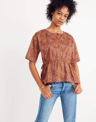 Madewell Drawstring-Waist Shirt in Warm Paisley