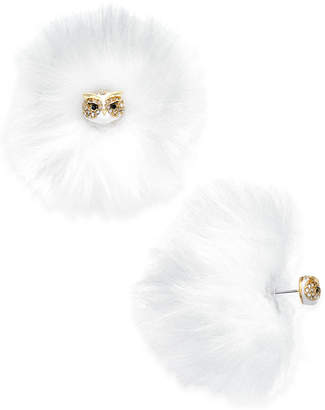 Kate Spade Gold-Tone Pave Owl & Faux Fur Reversible Earrings
