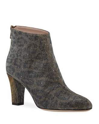 Sarah Jessica Parker Minnie Glittered Leopard Ankle Booties