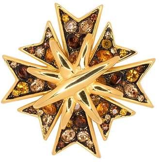 Kenneth Jay Lane Multi Topaz Maltese Cross Pin
