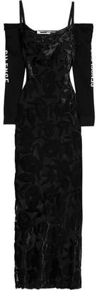McQ Cold-shoulder Cotton-jersey And Devoré-velvet Maxi Dress - Black