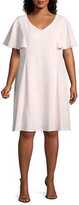 Liz Claiborne Short Sleeve Fit & Flare Dress - Plus