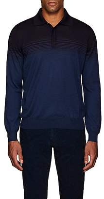 Fioroni Men's Striped Cashmere-Silk Polo Shirt - Navy