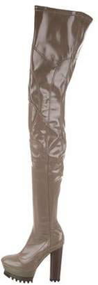 Calvin Klein Collection Platform Patent Leather Over-The-Knee Boots