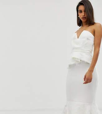 Asos Design DESIGN PREMIUM faux feather detail peplum midi dress