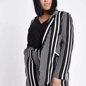 River Island Womens Plus black stripe shoulder pad blazer