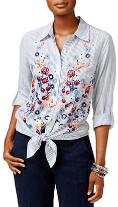 Style&Co. STYLE & CO. Stripe Floral Embellished Shirt
