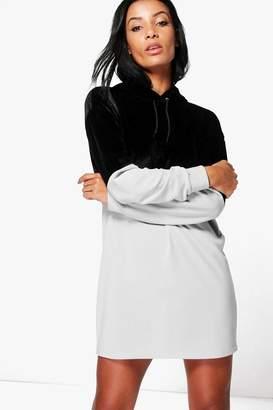 boohoo Abbey Velvet Colour Block Sweatshirt Dress