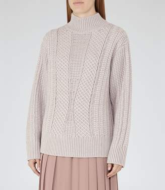 Reiss Wynn - High-neck Cable Knit Jumper in Slate