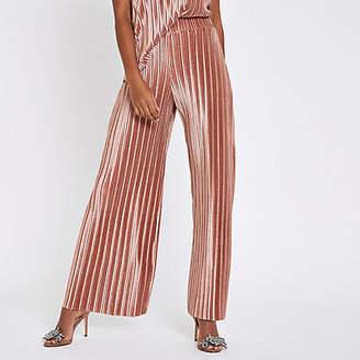 River Island Womens Pink velvet plisse wide leg trousers