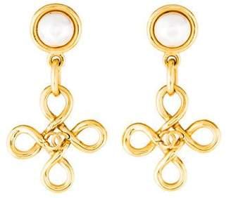 Faux Pearl & Infinity Drop Earrings