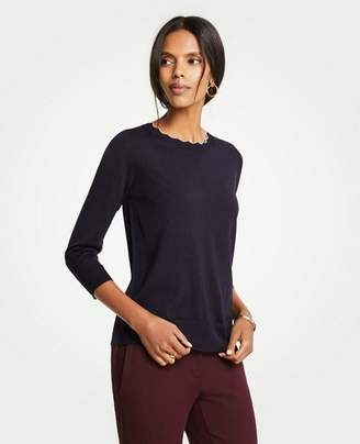 Ann Taylor Tipped Scallop Crew Neck Sweater