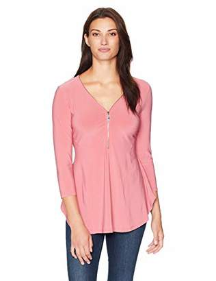 Chaus Women's 3/4 Sleeve V-Neck Zipper Top