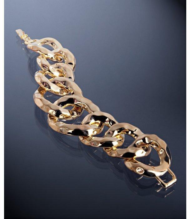 Kenneth Jay Lane gold hammered chain link bracelet