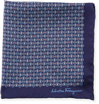 Salvatore Ferragamo Solid-Border Gancini Silk Pocket Square, Blue