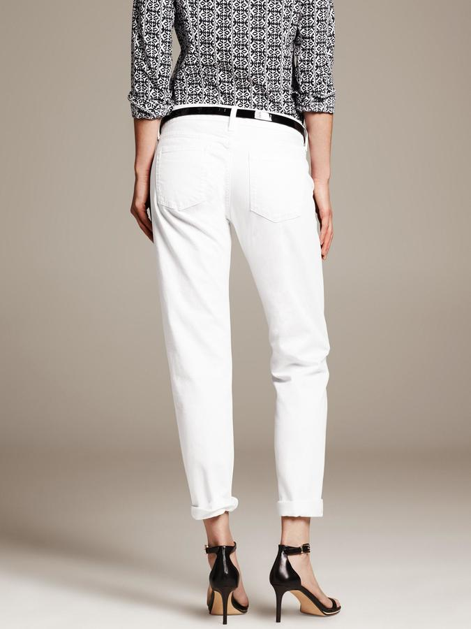 Banana Republic White Boyfriend Jean