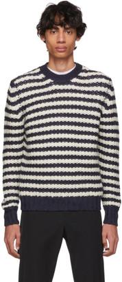 Prada Off-White and Navy Alpaca Striped Sweater