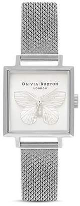 Olivia Burton 3-D Butterfly Square Stainless Steel Watch, 22.5mm x 22.5mm