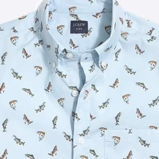 J.Crew Factory Slim-fit short-sleeve flex trout printed shirt