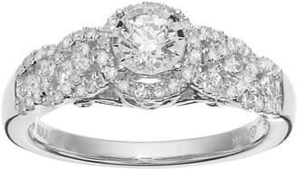 Vera Wang Simply Vera 14k White Gold 3/4 Carat T.W. Diamond Halo Engagement Ring