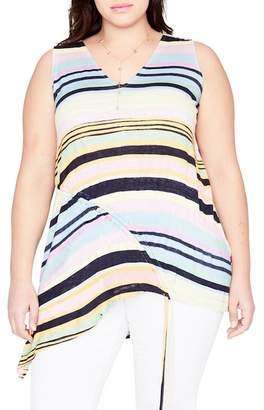 Rachel Roy Stripe Drawstring Top (Plus Size)