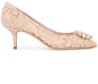 Dolce & Gabbana Pink Bellucci Crystal 70 Lace pumps
