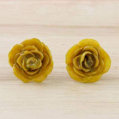 Petite Rose in Yellow Resin Dipped Yellow Real Miniature Rose Button Earrings