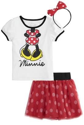 Minnie Mouse T-Shirt, Tutu Skirt, & Headband, 3pc Outfit Set (Toddler Girls)