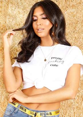 dd112926 Missy Empire Missyempire Rizo White Pretty Cute Slogan T Shirt