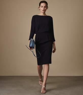 Reiss HANNIE CHIFFON-TOP SHIFT DRESS Navy