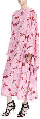 Loewe Long-Sleeve Bird-Print Long Caftan Dress
