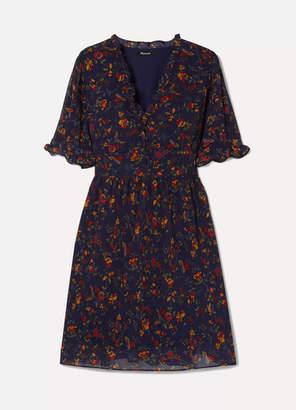Madewell Fresia Ruffled Printed Chiffon Dress - Midnight blue