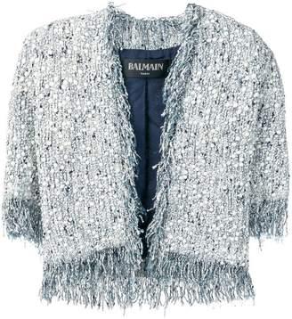 Balmain distressed tweed jacket