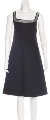 Ralph Rucci Mesh-Trimmed Wool Dress