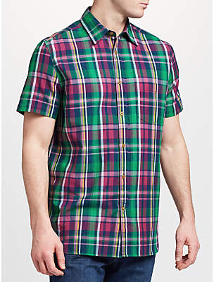 John Lewis Fenton Short Sleeve Check Shirt, Berry