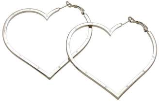 Chanel CC Logo Silver Tone Metal Big Heart Stud Earrings