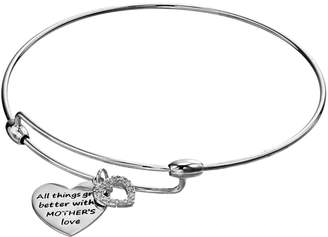 Charmed By Diamonds CHARMED BY DIAMONDS 1/10 Carat T.W. Diamond Mother's Love Heart Bangle Bracelet