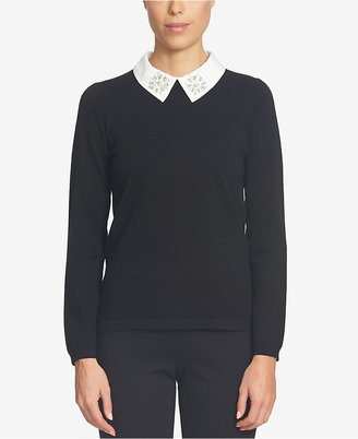 CeCe Embellished Collared Sweater $99 thestylecure.com