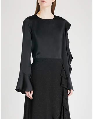 Cassandra KITRI ruffled silk-satin top