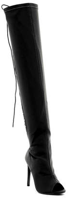 Chase & Chloe Emelia Lycra Lace-Up Thigh-High Boot