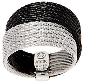 Alor Cable Stainless Steel Two-Tone DoubleBand Ring