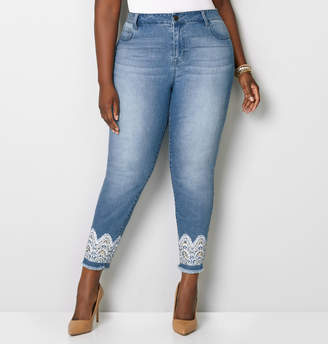 Avenue 1432 Frayed Lace Skinny Jean