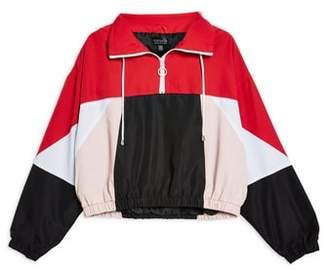 Topshop Overhead Colorblock Windbreaker Jacket