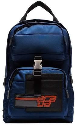 Prada blue small nylon cross body backpack