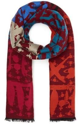 Vivienne Westwood Trompe L'Oeil Wool-Silk Scarf